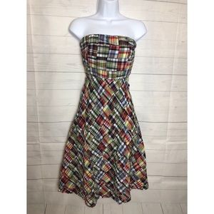 J Crew Cotton Strapless midi Dress  Size 8